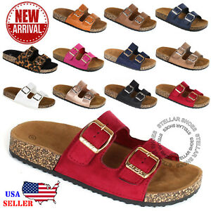 NEW-Women-039-s-Slide-Buckle-T-Strap-Cork-Footbed-Platform-Flip-Flop-Shoes-Sandals