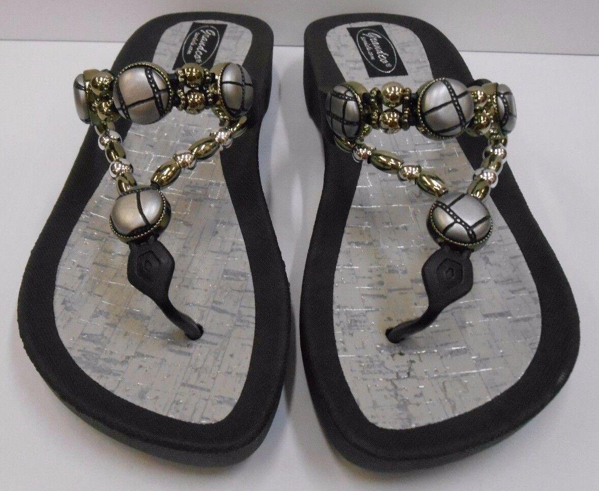 GRANDCO SANDALS Beach Pool THONG BLACK Dressy BLING METALLIC Jeweled Flip Flops