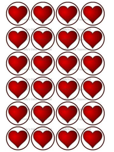 VALENTINES DAY LOVE HEART HEARTS CUP CAKE Rice Paper Photo Toppers x 24