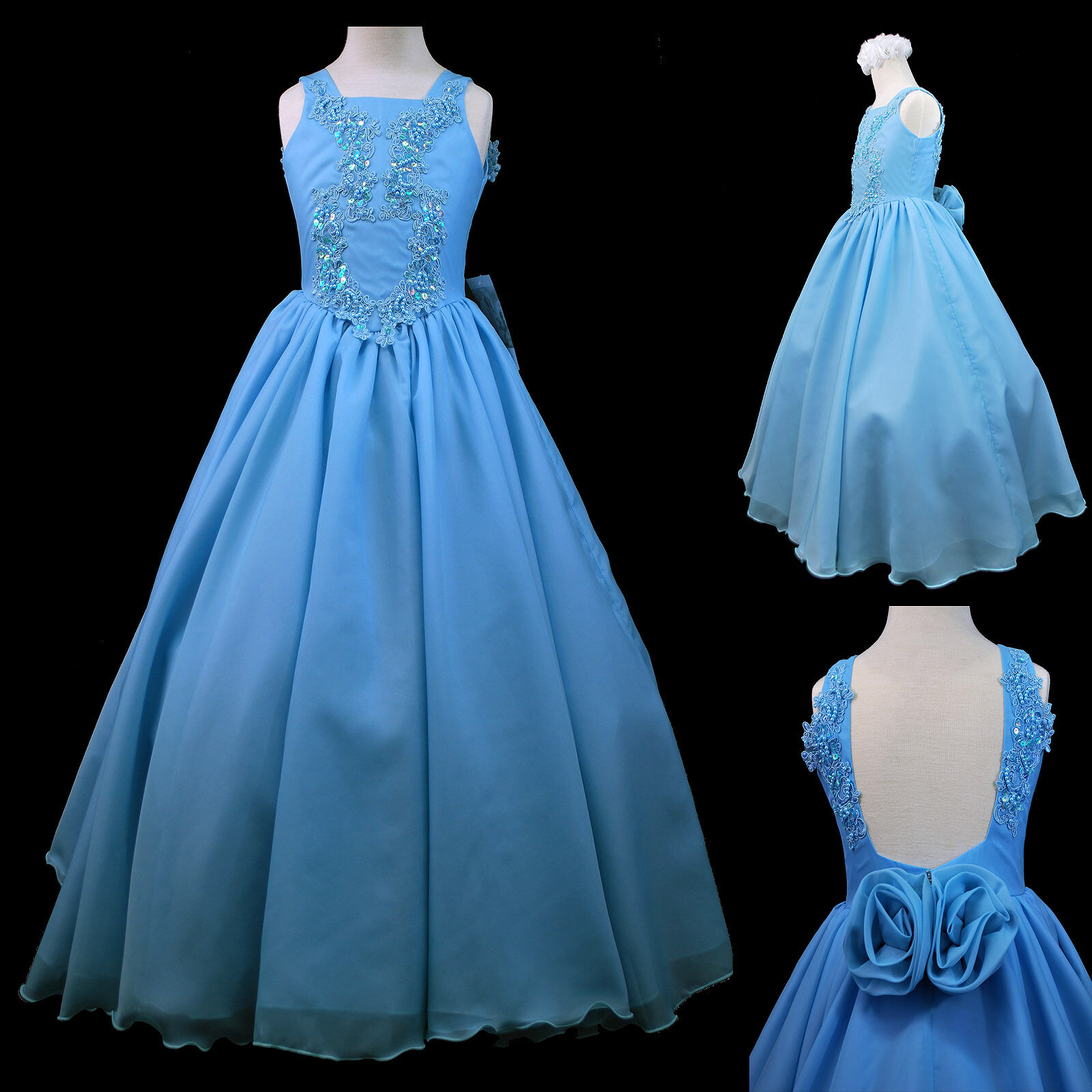 Blue Girl Pageant Wedding Dance Party Prom Recital Formal