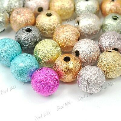 120pcs Mixed Loose Round Stardust Acrylic Beads DIY Jewelry Wholesale Lots 6mm