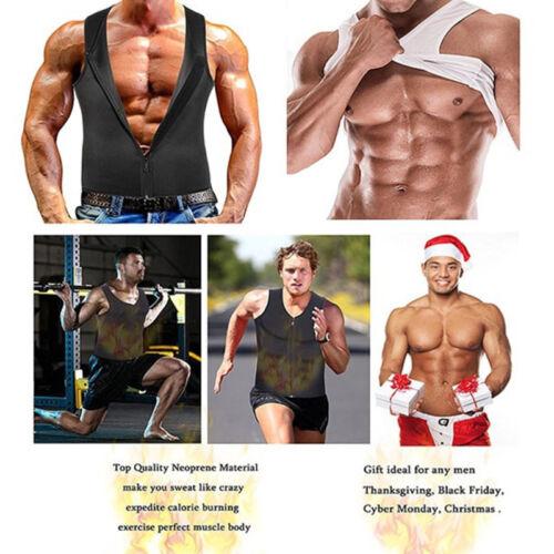 Mens Waist Trainer Sauna Sweat Vest Body Shaper Tank Compression Zipper Top US