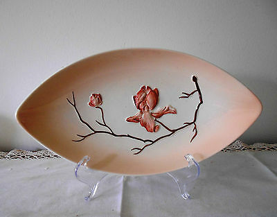 CARLTON WARE MAGNOLIA ELLIPTICAL SHAPED DISH PINK COLOURWAY C1950 HAND PAINTED
