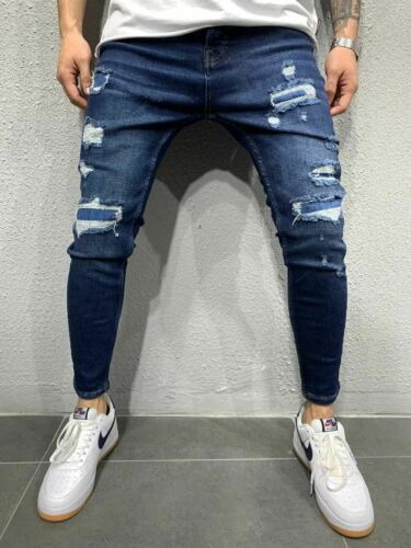 Jeans Blue Patched Slim Fit Men/'s Sports Jeans