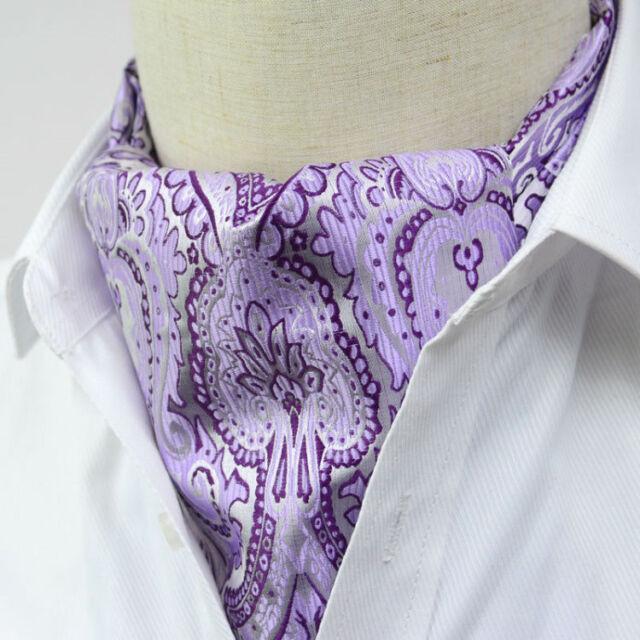 LJ01-02 Lavender gray Paisley Mens 100% Silk Cravat Scarves Ascot Tie Self Tied