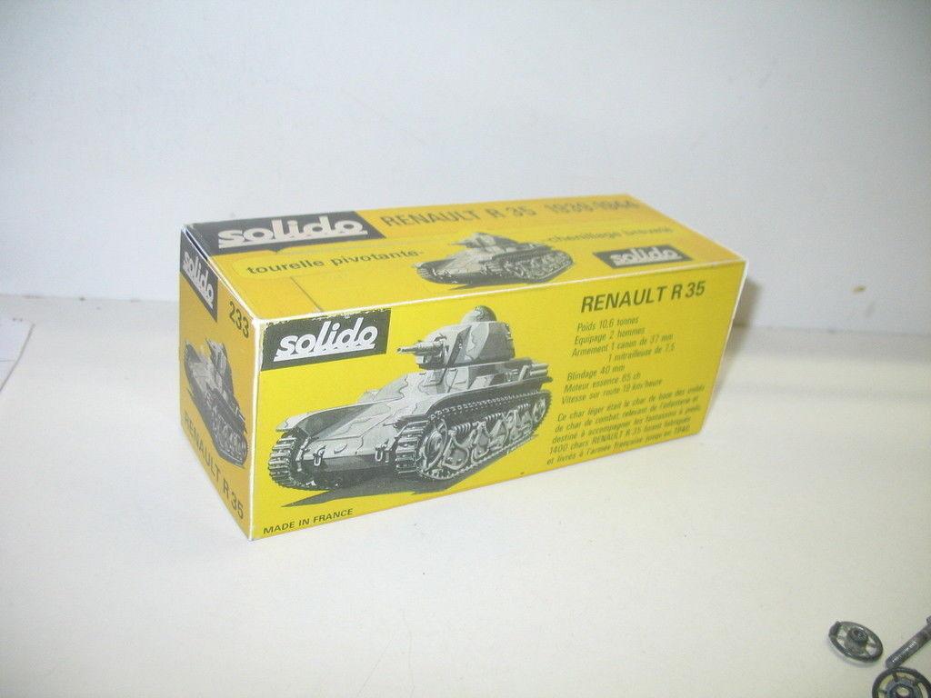 N81, BOITE char renault R35, SOLIDO militaire repro