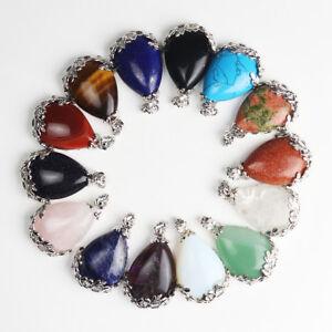 New-Natural-Gemstones-Teardrop-Silver-Flower-Reiki-Chakra-Pendant-for-Necklace