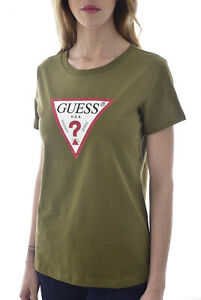 Guess Tee-shirt Vert À Manches Courtes Col Rond Triangle