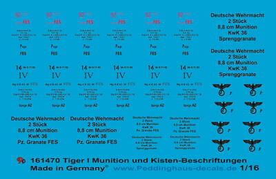 Peddinghaus 1//35 3498 Beschriftung für den 8 cm Granatwerfer Munitionkisten und