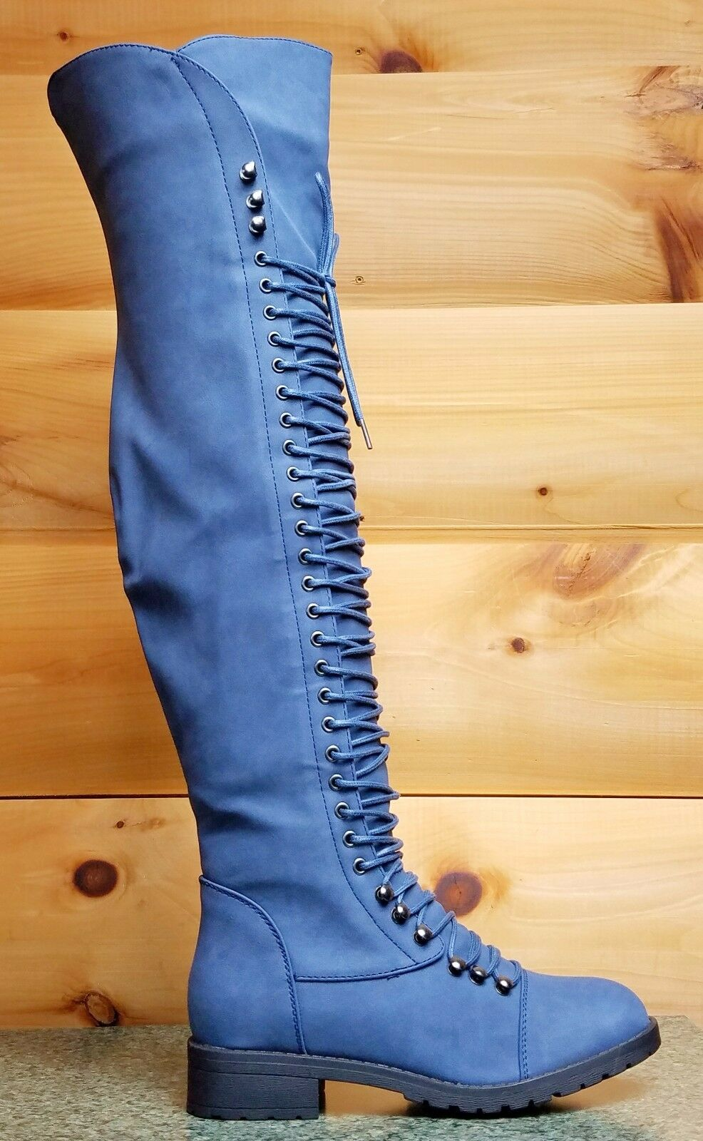 Mark & Maddux Blau Corset Lace Up Over the Knee Pirate Boot Travis 5.5-10