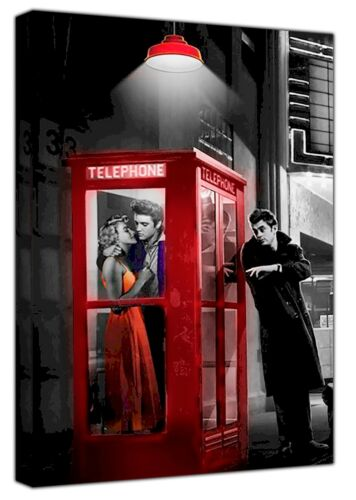 MARILYN MONROE ELVIS PRESLEY JAMES RED PHONE BOX  ON FRAMED CANVAS WALL ART