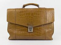 New. Brioni Brown Crocodile Leather Briefcase Bag $34450 on sale