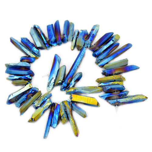 "Metallic Titanium Coated Natural Quartz Crystal Druzy Stick Pointed Beads 7.5/"""