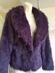Bnwot-Stunning-New-Look-Purple-Faux-Fur-Jacket-Coat-UK-Size-10
