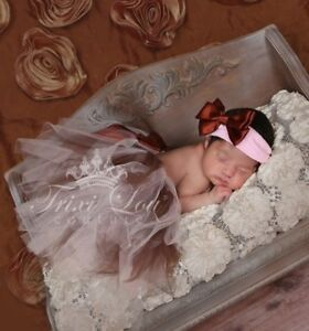 Painstaking Baby Pink & Chocolate Newborn Baby Tutu & Headband Photo Shoot Prop 0-6 Months Complete Range Of Articles Baby & Toddler Clothing Clothing, Shoes & Accessories