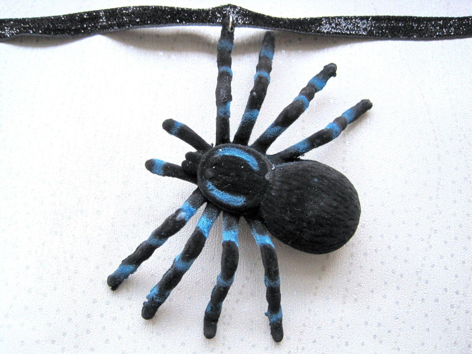 HUGE 3D BLACK BLUE SPIDER Velvet Ribbon Choker HALLOWEEN Fancy Dress Girl