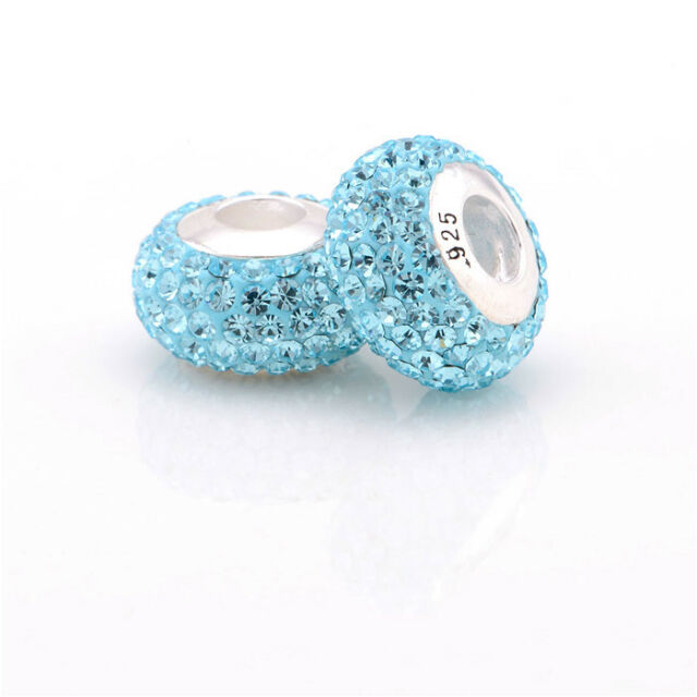 New Auth 925 Sterling Silver Core Charm Bead for Fashion Bracelet BLUE Crystals