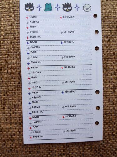A6 Fits LV MM USA SELLER Badtz Maru Sanrio Address-Phone Refill Paper RARE