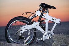 Downtube 9FS White Full Suspension Folding Bike 9 speed ( 27speed compatable )