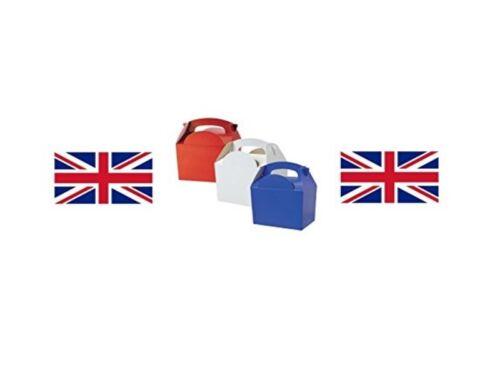 10 X Para niños Niños Union Jack Mix ~ Rojo//Blanco//Azul Comida Comida Picnic Cajas