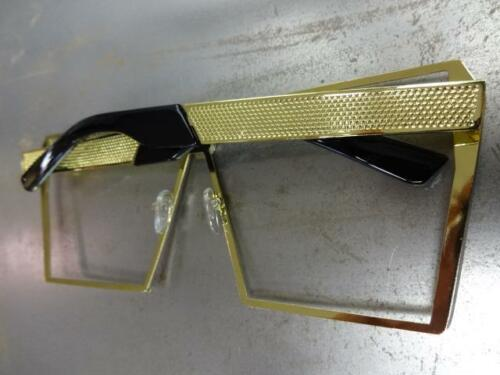 OVERSIZED VINTAGE RETRO PARTY CLUB Style Clear Lens EYE GLASSES Huge Gold Frame