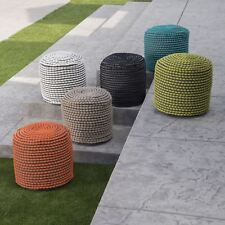 Collier Outdoor Handcrafted Modern Water-Resistant Fabric Cylinder Pouf Ottoman