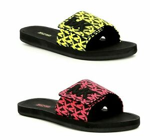 Women-Michael-Kors-MK-Slides-Flat-Sandals-PVC-Small-MK-Logo