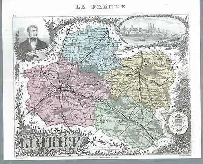 Alte Landkartefrankreich Illustriert - Loiret Gute QualitäT
