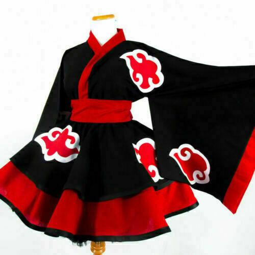 New Akatsuki Female Lolita Kimono Dress Cosplay Costume Custom Made