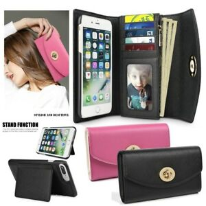 Premium Leather Cash Clutch Wallet Card Slot Case Cover for iPhone 8 7 6/6s Plus