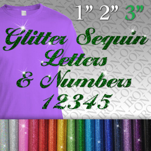 GLITTER Letters /& Numbers iron on stickers FABRIC T-SHIRT TRANSFER SEQUIN name
