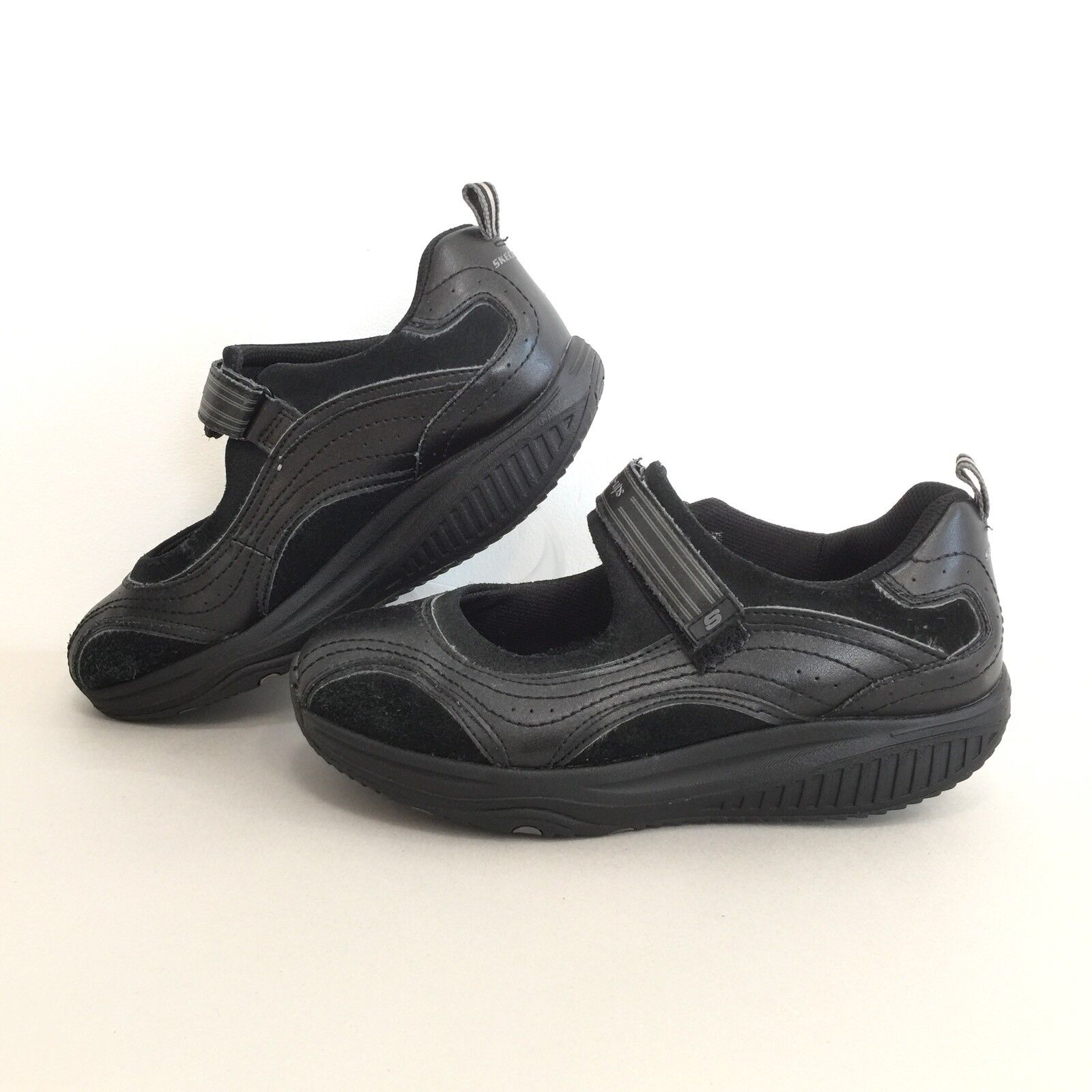 Skechers Shape Ups Womens Sz 8 Black Leather Mary Jane Exercise shoes EUR 38