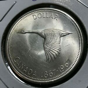 1967-CANADA-SILVER-GOOSE-DOLLAR-BRILLIANT-UNCIRCULATED-CROWN