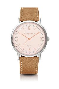 Original-Bergmann-Cor-Uhr-rose-sandfarbenes-Wildlederband-elegant-Unisex