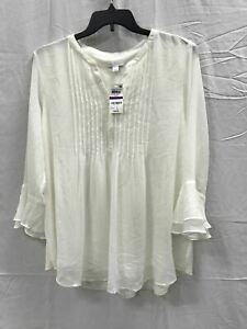 Charter-Club-Knit-Doublr-Ruffle-Solid-Pintuck-Top-White-S