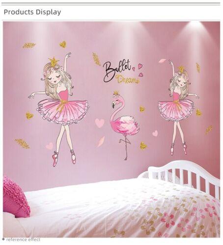 Ballet Girl Dancers Wall Stickers DIY Cartoon Balloons Wall Decals for Kids Room