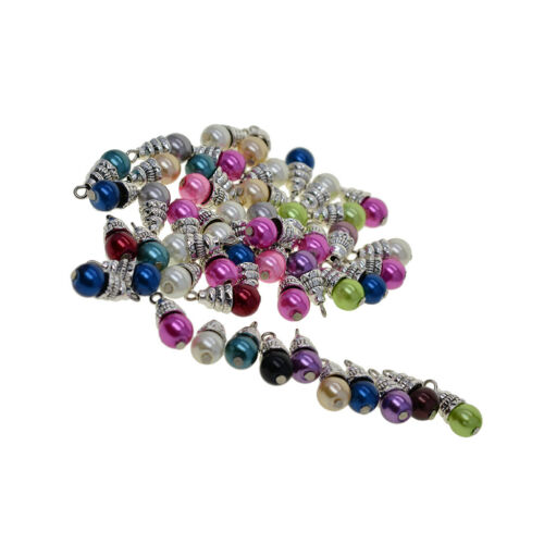 50x Faux Pearl Metal Charms Pendants for DIY Jewelry Making Findings Crafts