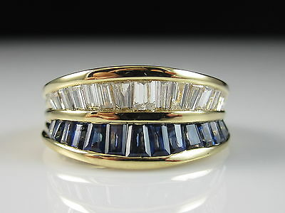 18K Blue Sapphire Diamond Ring Yellow Gold Fine Jewelry Baguette Band Channel