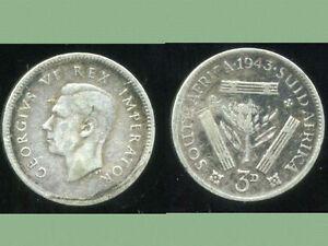 AFRIQUE DU SUD   3 pence 1943   ARGENT  SILVER  ( bis )