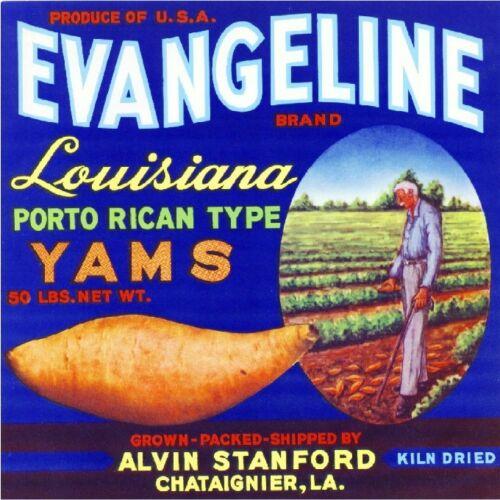 Chataignier Louisiana Evangeline Yams Sweet Potato Yam Crate Label Art Print
