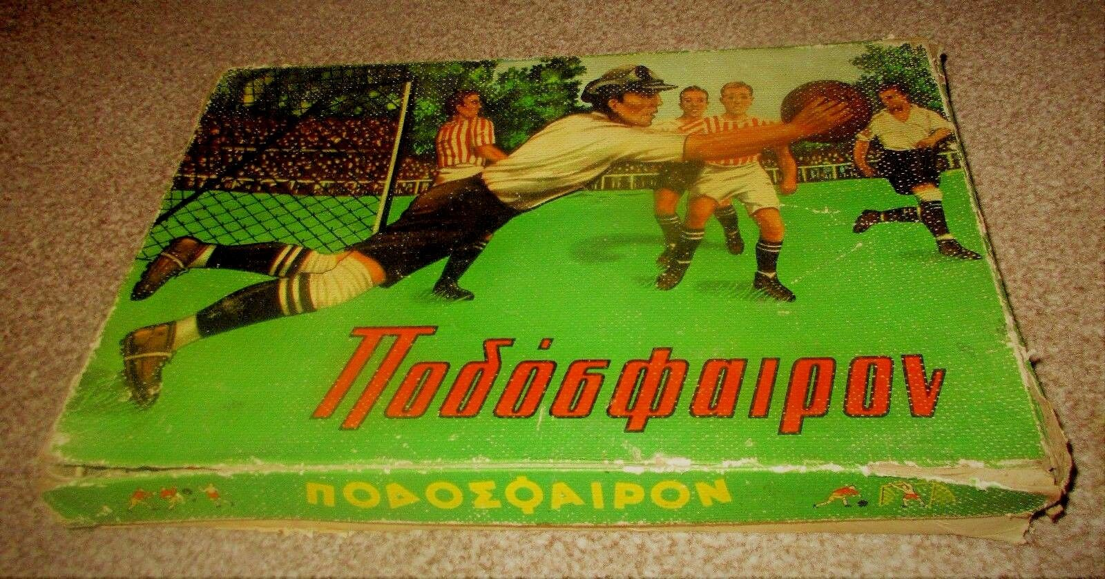 UNIQUE VINTAGE GREEK LITHO HARDBOARD FOOTBALL 2 GAME BY ROOSTER FROM 60s