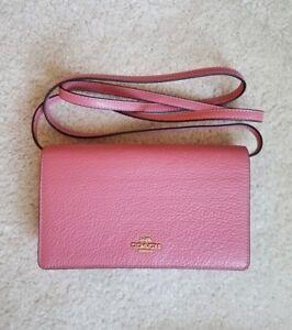 COACH-Pebble-Leather-Foldover-Crossbody-Bag-Clutch-Purse-F30256-PINK-PEONY