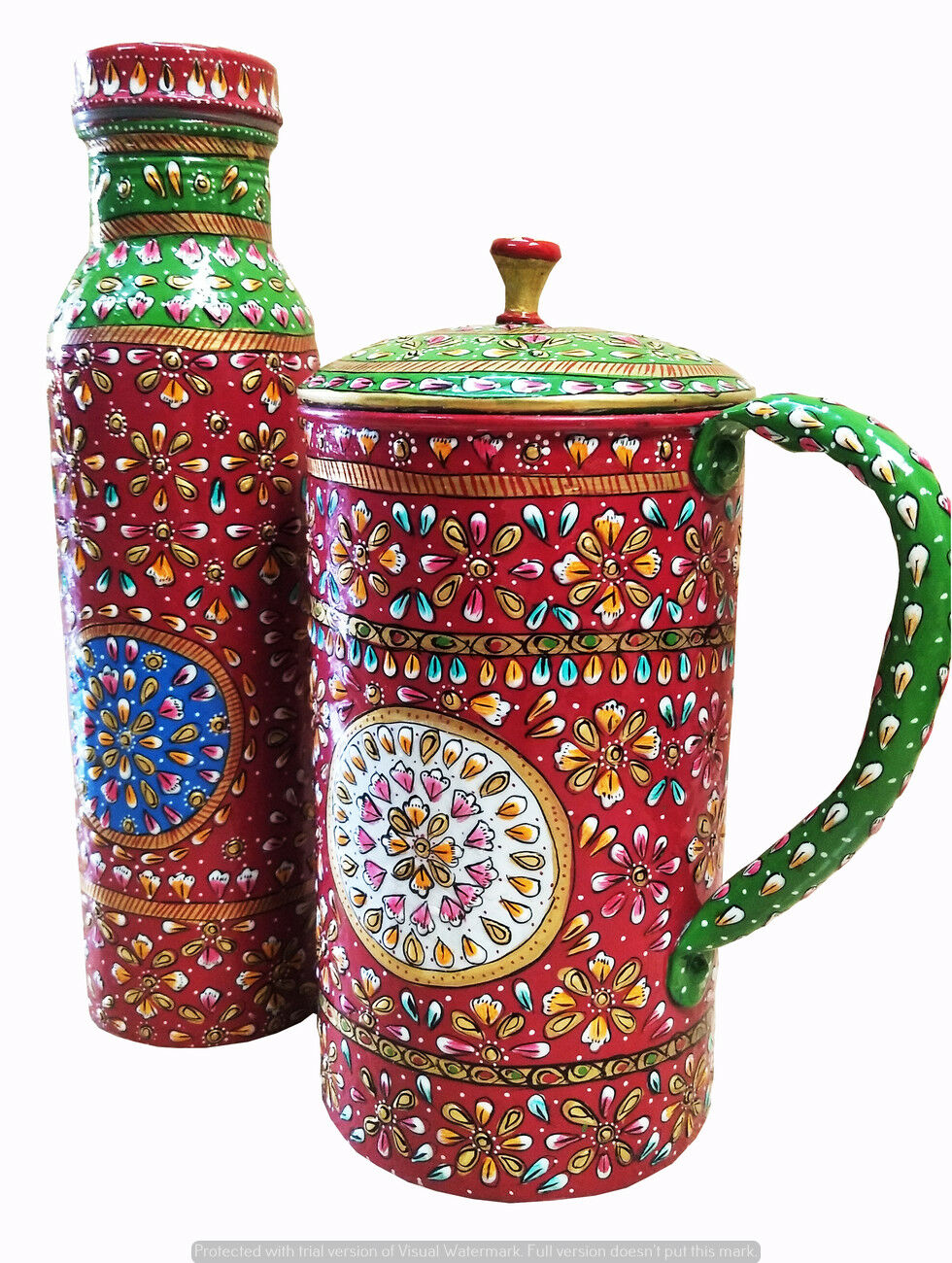 Meenakari Beautiful Printed Water Pot Jug Bottle Natural Ayurveda 100% Copper