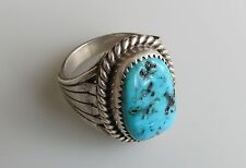 RUNNING BEAR Native American Turquoise Sterling Silver Feather flank  Ring sz 10