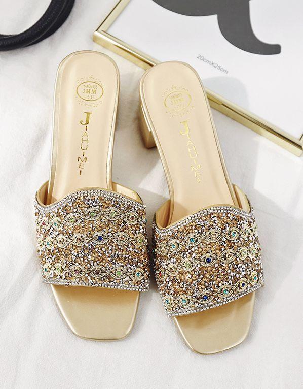 Ciabatte tacco alte 6 oro cm strass oro 6 pietre comode eleganti simil pelle 9679 186dd8