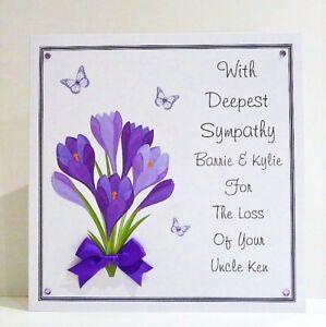 sympathy condolence thinking of you card personalised handmade ebay