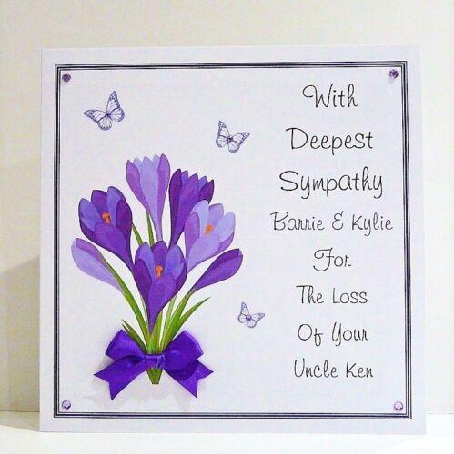 Sympathy//Condolence//Thinking of You Card Personalised Handmade