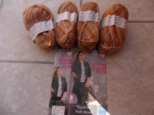 Crelando Kathrin Felt Wool 200g  4 x 50g Beige Oranges and Browns 100 /% Pure