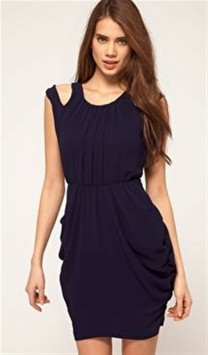 Paprika Tulip Dress with Cut Out Shoulder  US 8 - Navy