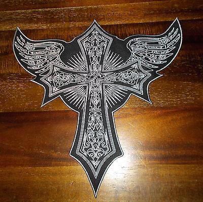 Patch Schiena Patch Ricamate Biker Tonaca Croce - 32 X 32 Cm! Super Dimensioni & Ottica-mostra Il Titolo Originale